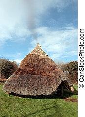 starożytny, celtycki, mieszkanie