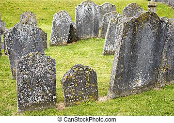 starożytny, cmentarz, kamienie nagrobne