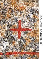 starożytny, do góry, znak, zamknięcie, krzyż, runestone