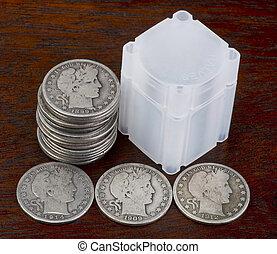starożytny, dolary., pół