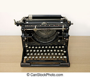 starożytny, drewniany, maszyna do pisania, biurko