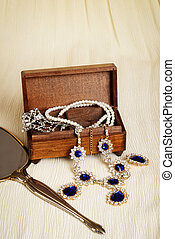 starożytny, drewno, biżuteria, boks