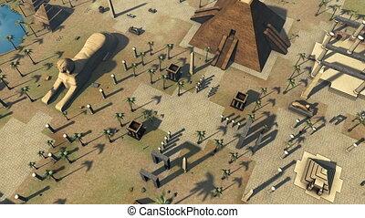 starożytny, egypt., architektura, rozwój, ożywiony, 4k