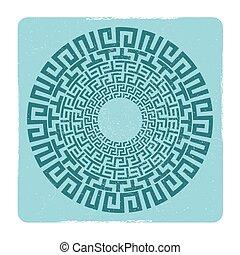 starożytny, emblemat, grek, klucz, meandry, okrągły
