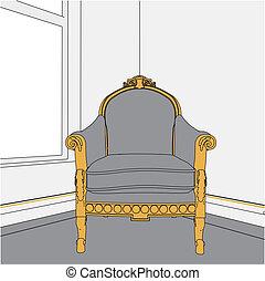 starożytny, fotel