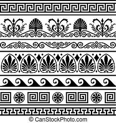 starożytny, grek, brzegi, komplet, wektor