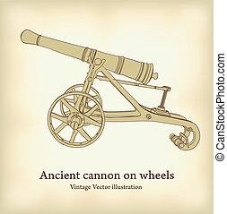 starożytny, illustration., armata, wektor, rocznik wina,...