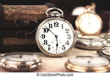 starożytny, kieszeń, retro, srebro, zegar