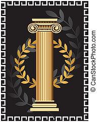 starożytny, kolumna, joński