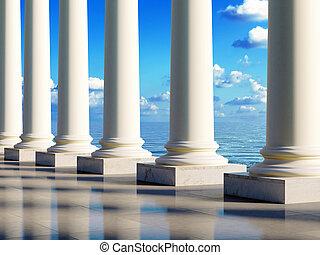 starożytny, kolumny, na, brzeg