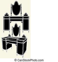 starożytny, komoda, lustro