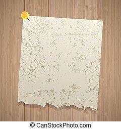 starożytny, listek, pin., drewniany, porwany, przypięty, papier, tło