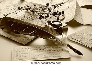 starożytny, litera, i, atrament, feath