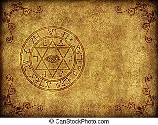 starożytny, magik, sigil, ilustracja