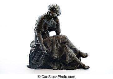 starożytny, metal, statua, na białym, tło