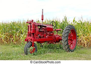 starożytny, nagniotek, czerwony traktor