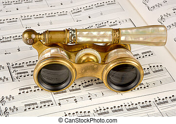 starożytny, opera, karb, muzyka, okulary