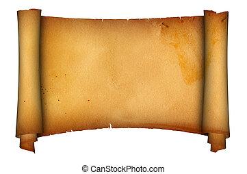starożytny, parchment., woluta