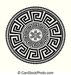 starożytny, próbka, ornament., odizolowany, wektor, czarnoskóry, meandry, okrągły