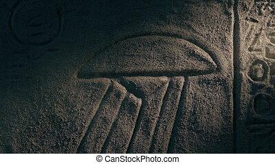 starożytny, przelotny, egipcjanin, rzeźba, opis, ściana, ...