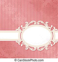 starożytny, różowy, chorągiew, ślub