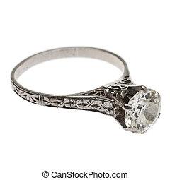 starożytny, ring, diament, 1920's