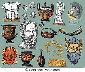starożytny, rys, stary, wazon, symbolika, laur, styl, monety...