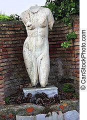 starożytny rzymianin, kobieta golca, statua, ostia, antica,...