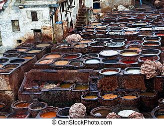 starożytny, skóra, medyna, fabryki, kunszt, marokańczyk, fes