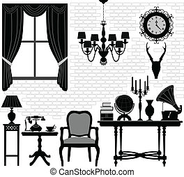 starożytny stary, pokój, hala, meble