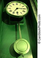 starożytny stary, retro, wahadło, zegar