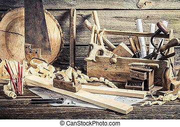 starożytny, stolarka, warsztat, narzędzia