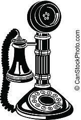 starożytny, sztuka, zacisk, telefon, telefon, albo