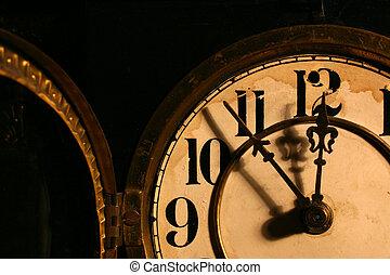 starożytny, twarz, zegar
