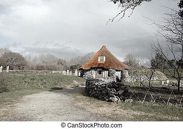 starożytny, wiejski, chata