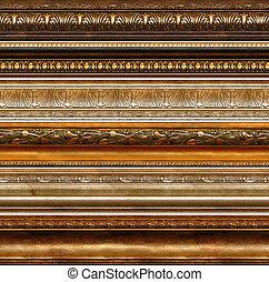 starożytny, wiejski, dekoracyjny, ułożyć, wzory