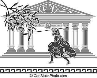 starożytny, wojownik, i, oliwna gałąź