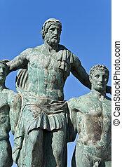 starożytny, wyspa, klasyk, rhodes, grek, statua, grecja