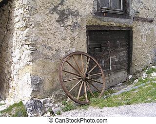 starożytny, zardzewiały, koło powózki