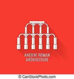 starobylý římský, architektura, dlouho, stíny