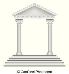 starobylý římský, chrám, s, štafle, a, sloupec