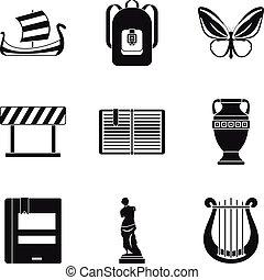 starobylý řecko, ikona, dát, jednoduchý, móda