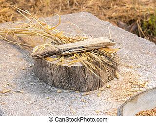 starobylý, šprtat, rukopis, dřevěné hudební nástroje po vlasu, tyč