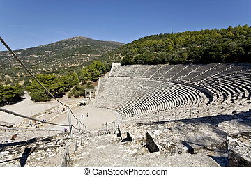 starobylý, amfiteátr, o, epidaurus, v, peloponisos, řecko