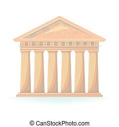 starobylý, chrám, vektor, ilustrace