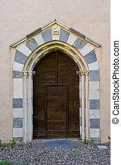 starobylý, di, badia, portál, církev, tiglieto, povolání