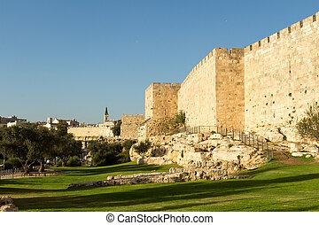 starobylý, ierusalim., chrám