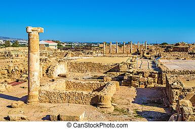 starobylý, -, sad, troska, paphos, archeologický, kypr