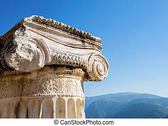 starobylý, sloupec, delphi, hlavice, ionian, řád