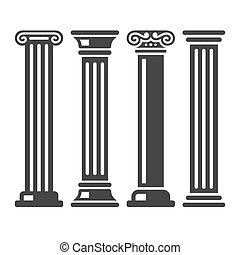starobylý, sloupec, ikona, set., vektor